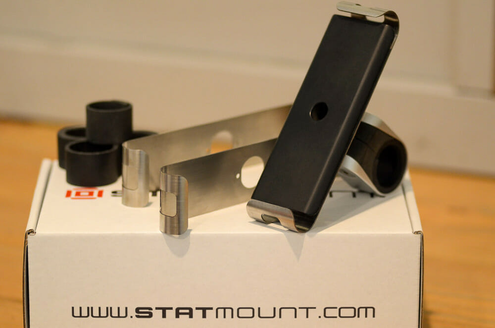 The Statmount is a new phone-mount kit with a patented design that includes three different sizes of clamping wings made from aerospace-grade stainless steel.