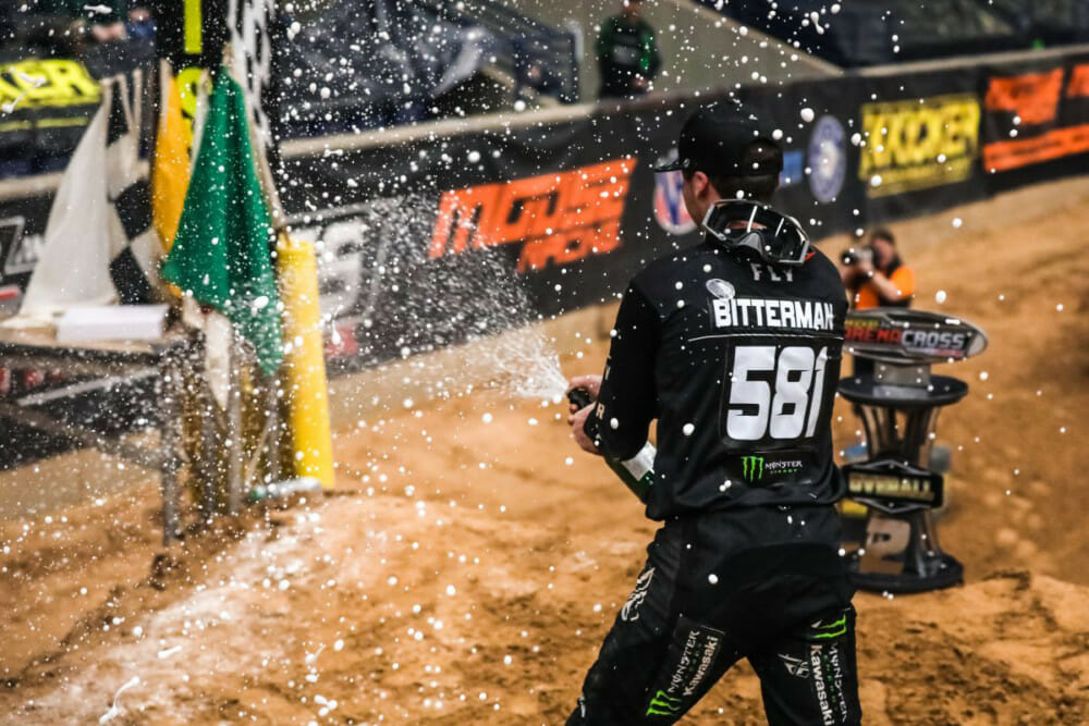 Team Babbitt's Kyle Bitterman celebrating his second place finish in the 2020 AMA Arenacross series.