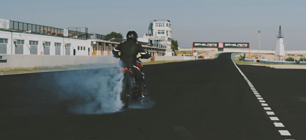 Triumph Rocket 3 R at Cartagena racetrack in Spain