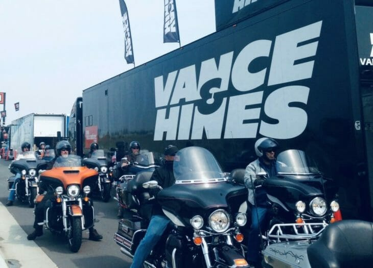 Riders at the Vance & Hines 2020 Road Show