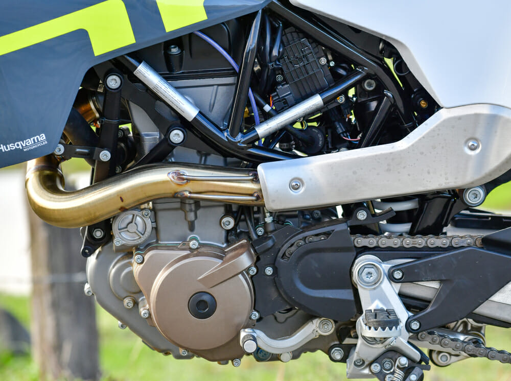 The 2020 Husqvarna 701 Supermoto's exhaust can get a little hot in traffic.