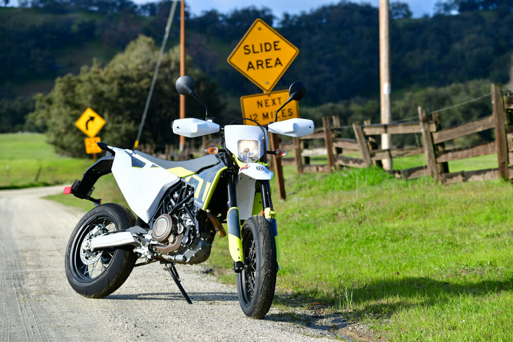 You can hit up dirt roads quite easily on the 2020 Husqvarna 701 Supermoto.