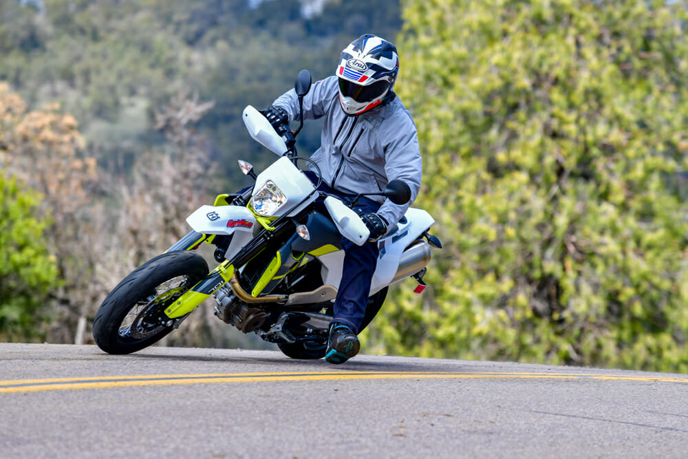 The front suspension is quite stiff and can make the 2020 Husqvarna 701 Supermoto slightly reluctant to begin the corner, but once in there, stability is good.