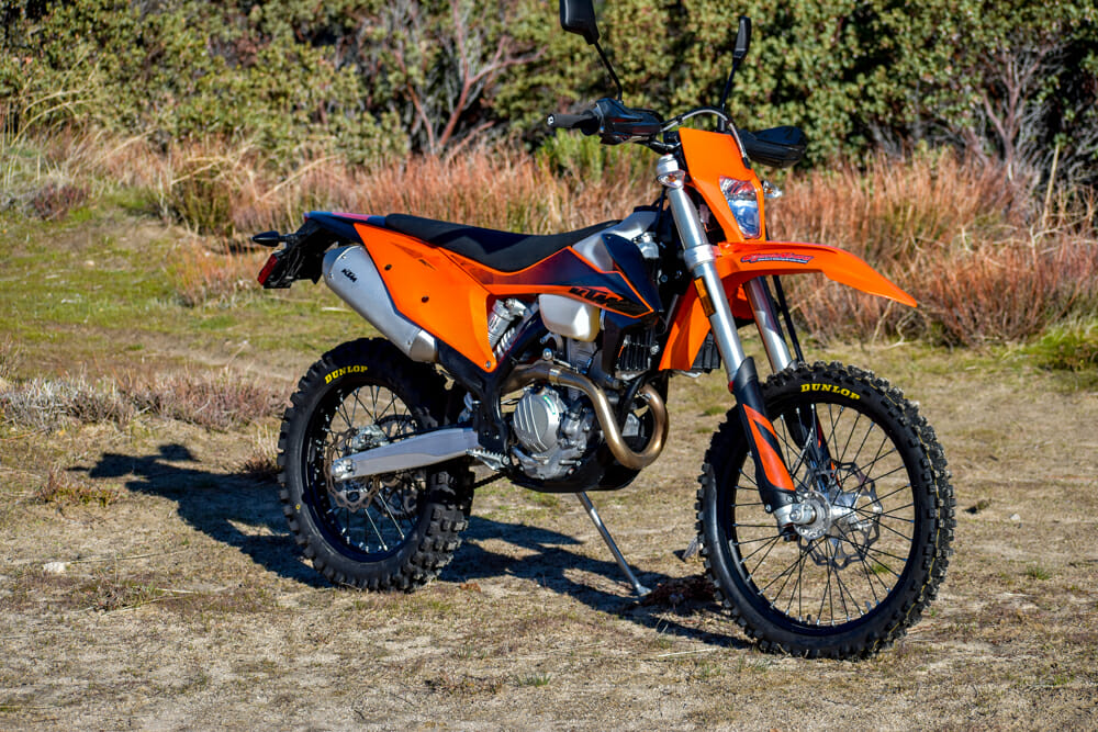 The 2020 KTM 350 EXC-F is an XCF-W with a license plate and all of the necessities that make street-riding it legal.