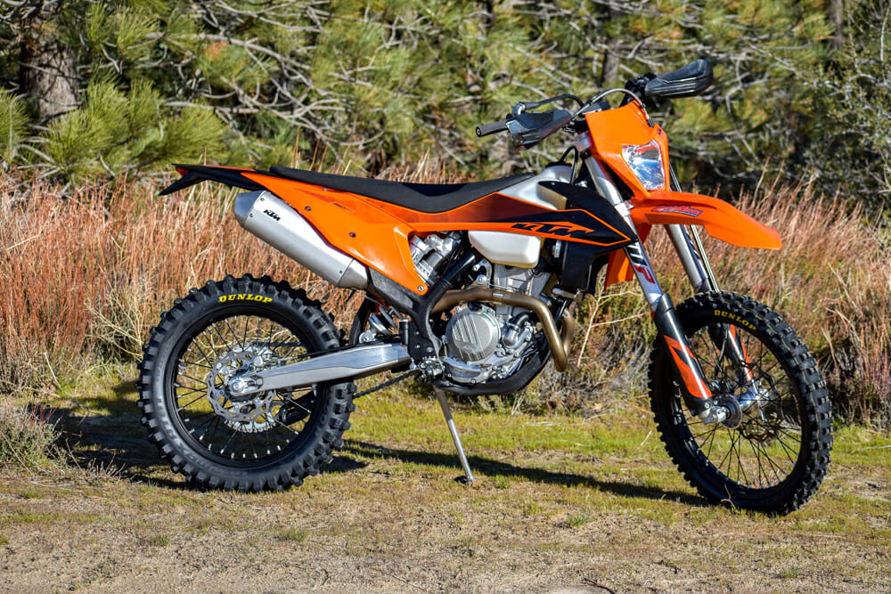 The 2020 KTM XCF-W has a little more engine tuneability and a little less weight compared to the street-legal EXC-F.