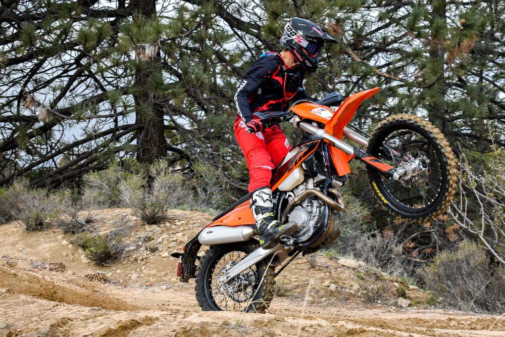 Performance-wise there is nothing the EXC-F can't do compared to a regular dirt bike and its kid brother, the XCF-W. But for some, the 2020 KTM 350 XCF-W can do a lot more.