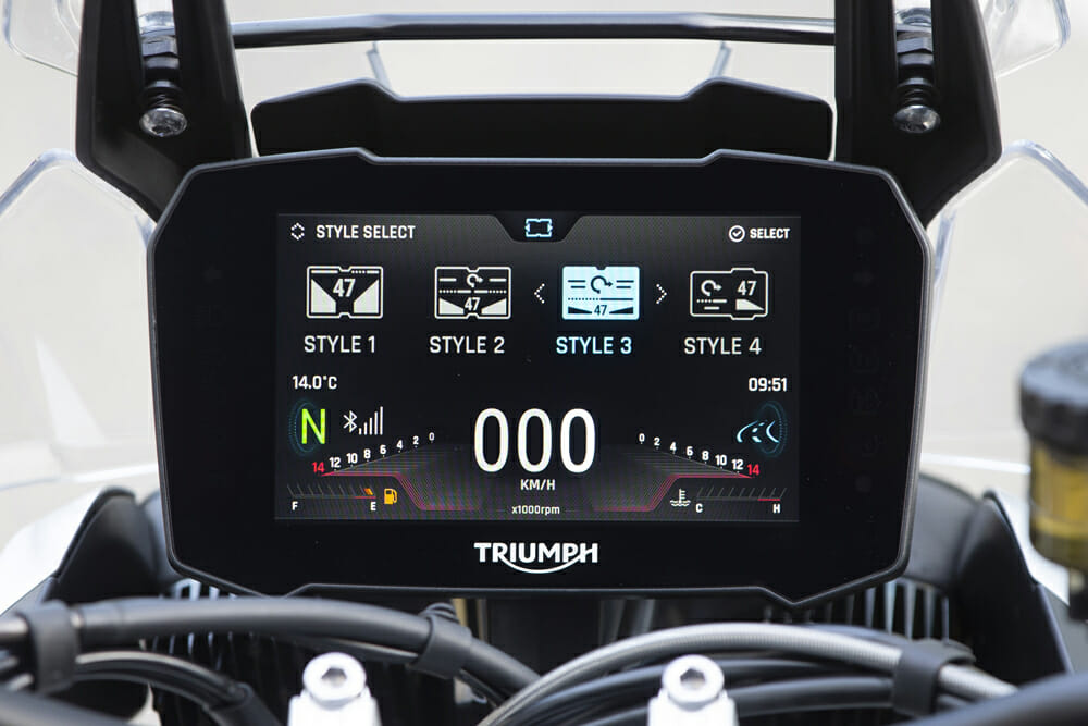 The 2020 Triumph Tiger 900 Rally Pro's seven-inch TFT meter has it all, including good looks.