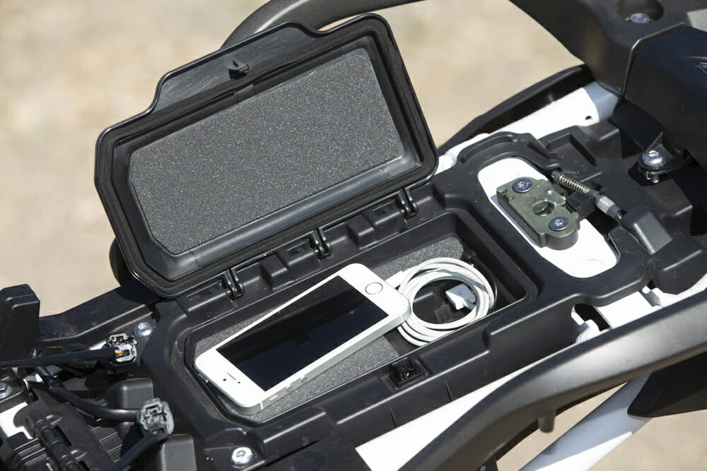 The 2020 Triumph Tiger 900 Rally Pro has a safe place to stow your phone.