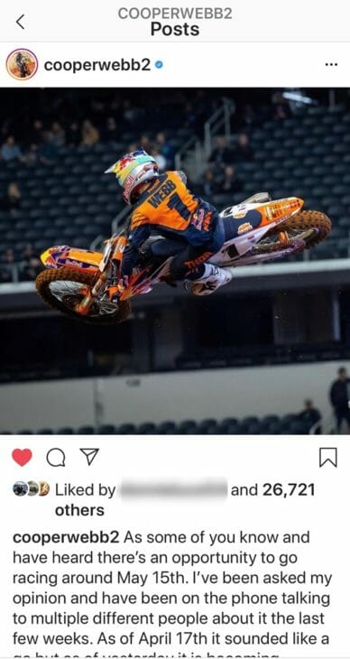 Cooper Webb Instagram post about returnign to Supercross in May or June b