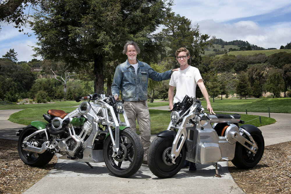 Curtiss owner Matt Chambers with young designer Jordan Cornille, who will take Curtiss Motorcycles forward with the electric platform.
