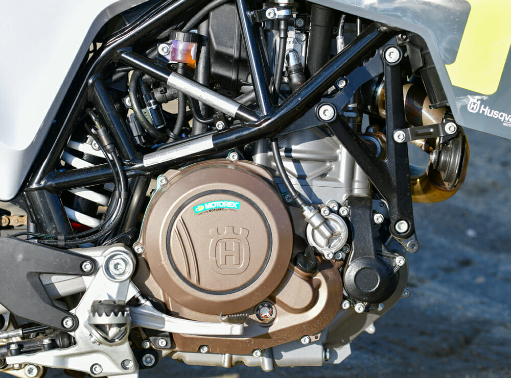 The latest-generation KTM 690 Duke motor in the 2020 Husqvarna 701 Supermoto is a big improvement over the old lump.