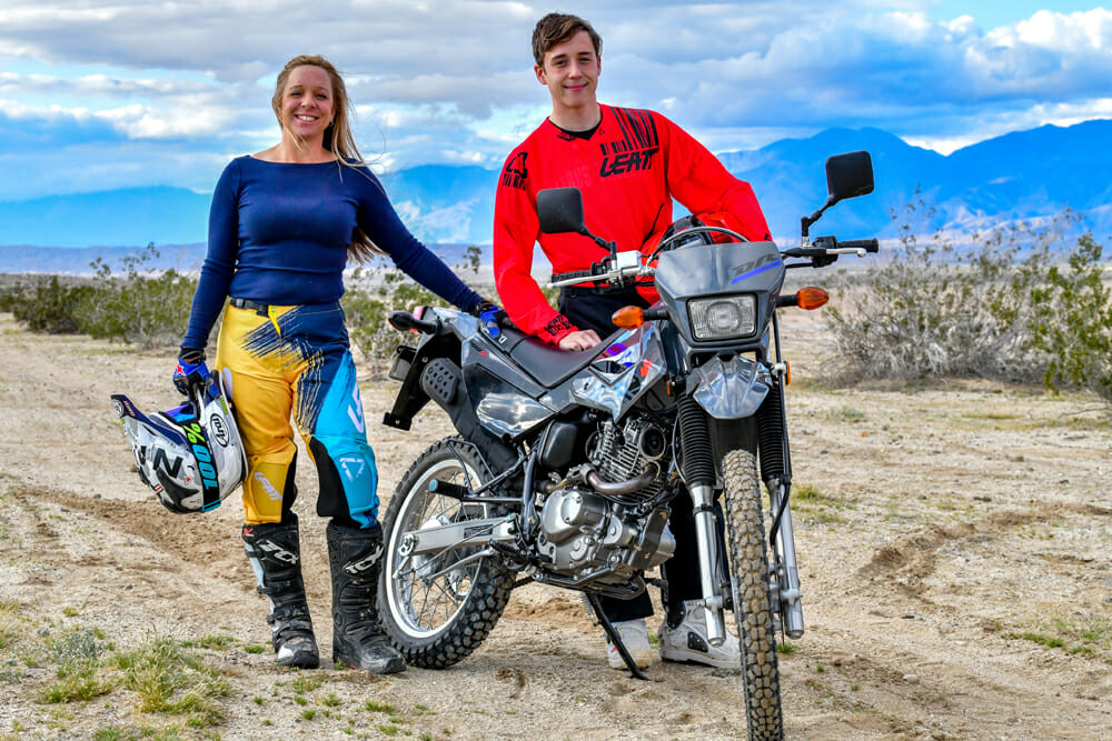 Mother and son share the experience of learning how to ride a motorcycle.