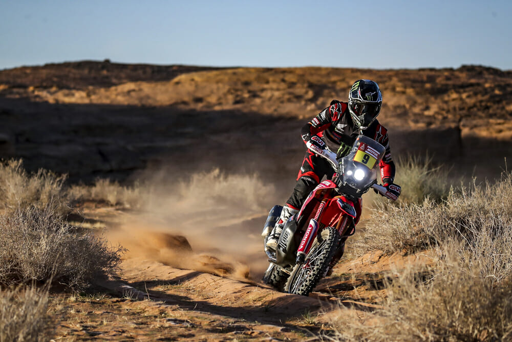 Ricky Brabec makes his way through the Saudi Arabian backcountry on stage five of the 2020 Dakar.