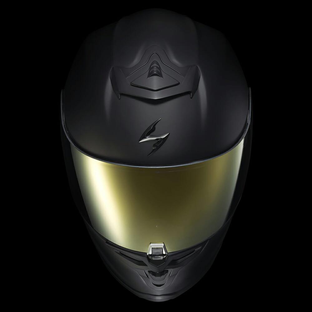 ScorpionEXO matte-black EXO-R1 Air with gold shield