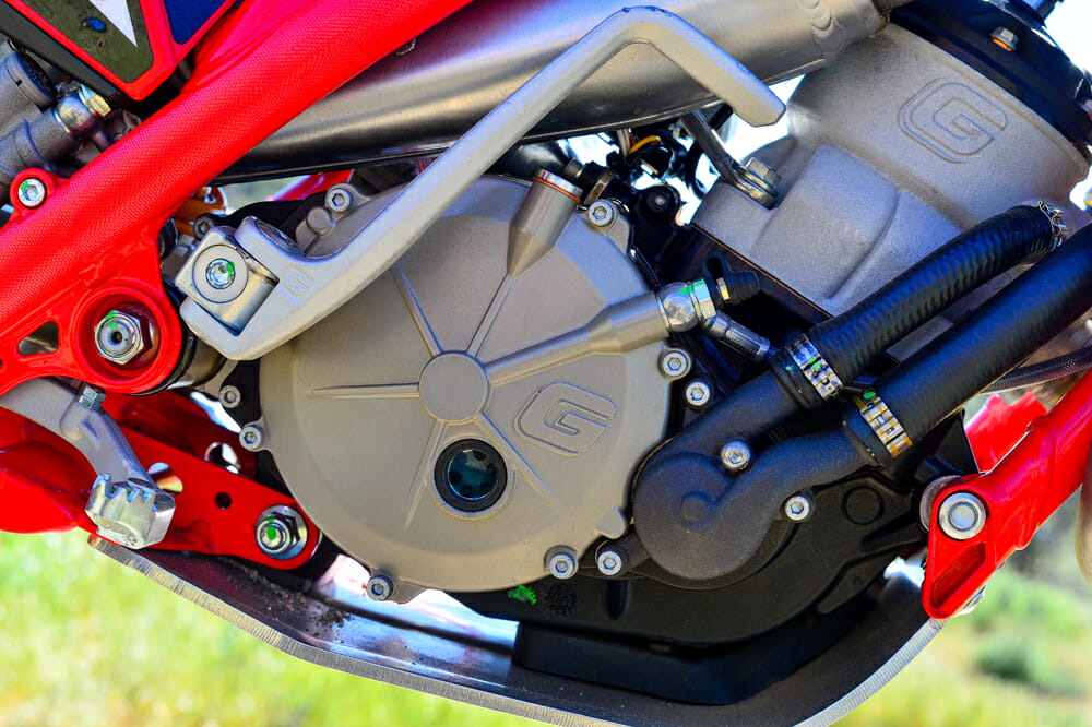 The 2020 GasGas TXT Racing 300 has a new clutch cover, which makes clutch maintenance much easier.