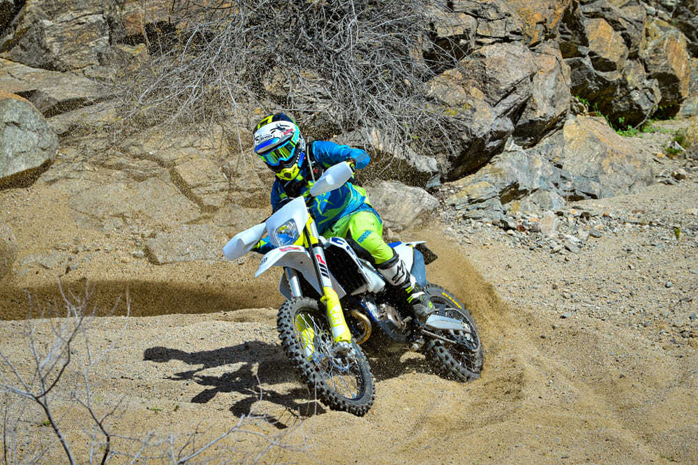 Deep sand isn't a friend of the 2020 Husqvarna FE 350, but the 350 still produces enough power to get the job done.