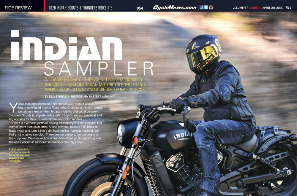 2020 Indian Scouts and the Thunder Stroke 116 | We sample some of the latest cruisers, bobbers and choppers from Indian Motorcycle, including Anniversary Scouts and a bigger Thunder Stroke powerplant.