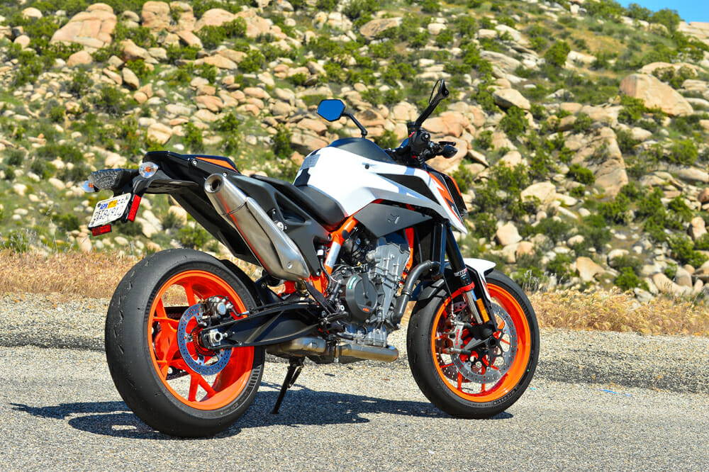 The 2020 KTM 890 Duke R has more aggressive ergos than the 790.