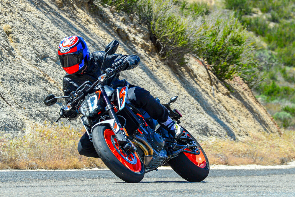 "KTM's ""Super Scalpel"" 2020 KTM 890 Duke R hunts corners like a sniper."
