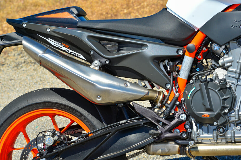 The swingarm sits higher in the frame on the 2020 KTM 890 Duke R than on the 790, helping maintain good chassis balance for when you're cranked over and start feeding the power in.