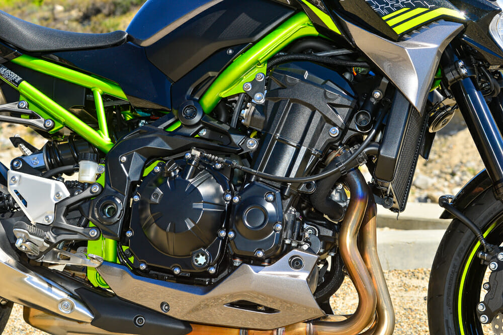 Kawi's 948cc inline four-cylinder motor is a carryover from the 2017 model.