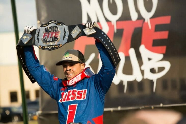 2020 Moto Fite Klub Alessi podium with winners belt - Photo by Willie Browning