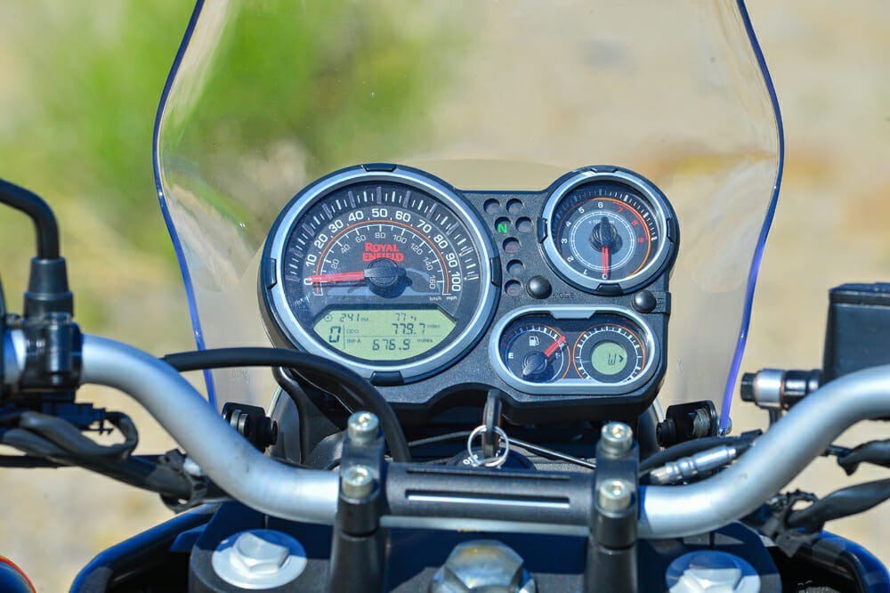 The dash of the 2020 Royal Enfield Himalayan is a mix of old and new