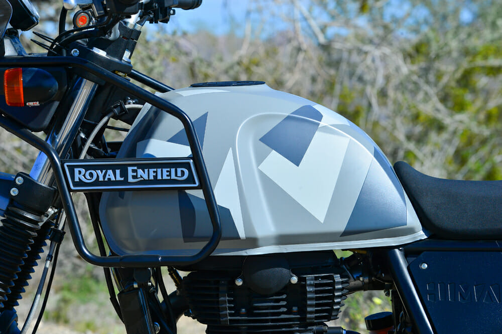 The 2020 Royal Enfield Himalayan's tank guard also doubles as a place you can strap auxiliary gas cans.