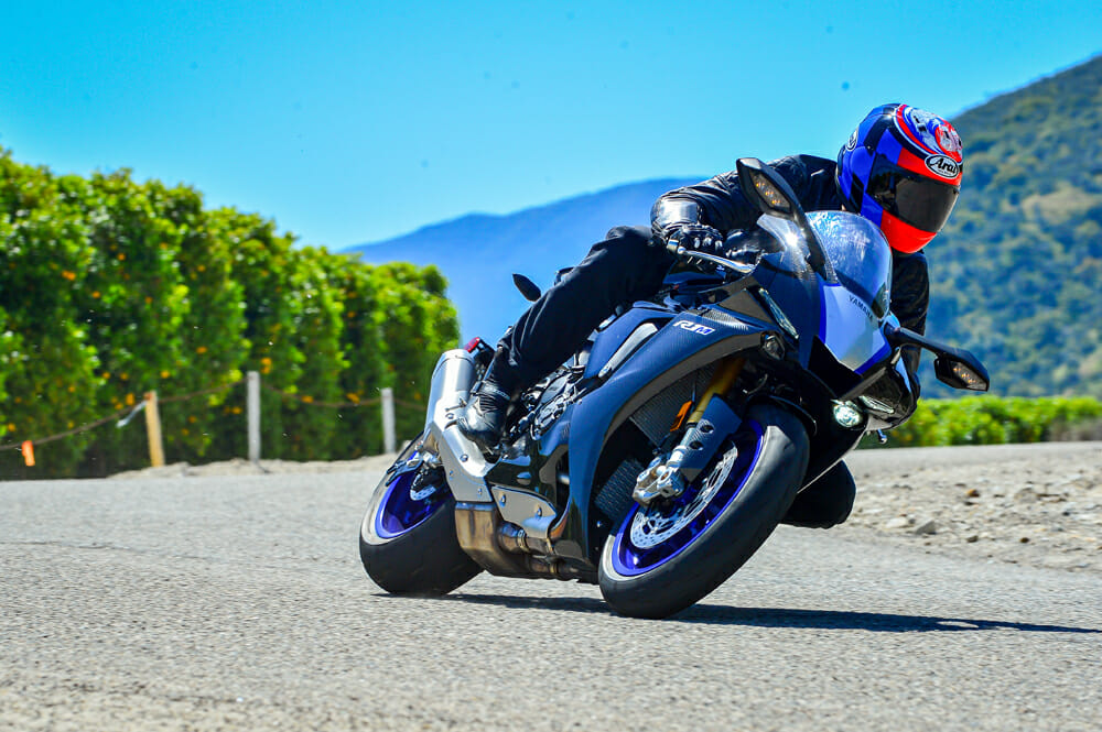 Cornering with the 2020 Yamaha YZF-R1M.