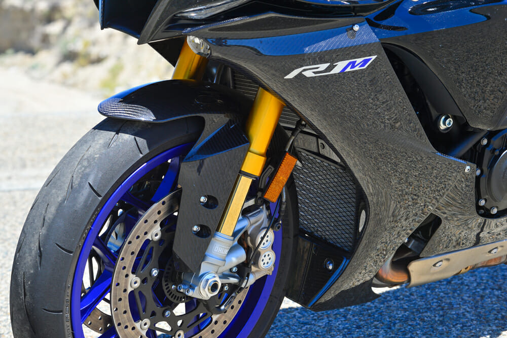 The 2020 Yamaha YZF-R1M has Ohlins gas-charged NPX-EC fork, a first for any production motorcycle.