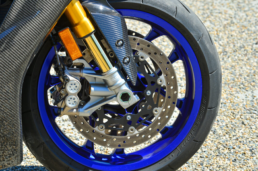 Brake performance for the 2020 Yamaha YZF-R1M on the track has been criticized by some testers, but on the street, we had no issues.