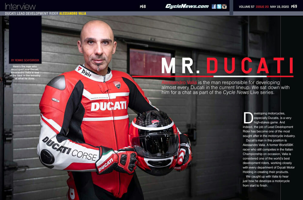 Alessandro Valia is the man responsible for developing almost every Ducati in the current lineup. We sat down with him for a chat as part of the Cycle News Live series