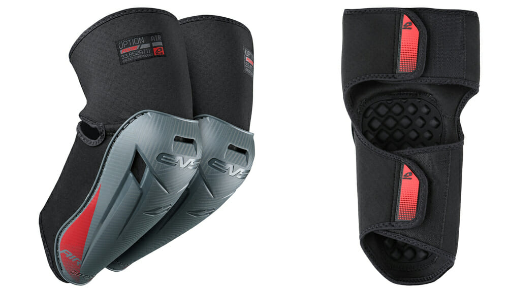The Option Air Knee and Elbow Pads from EVS Sports use Trac Grip and Flyte Liner.