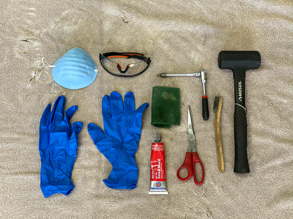 Muffler Repacking Necessary Tools: Rebuilding a stock or aftermarket muffler is not that difficult. These are the necessary tools you will need for most systems. The gloves, eye protection and mask are strongly recommended as fiberglass is very irritating to your skin, eyes and lungs.