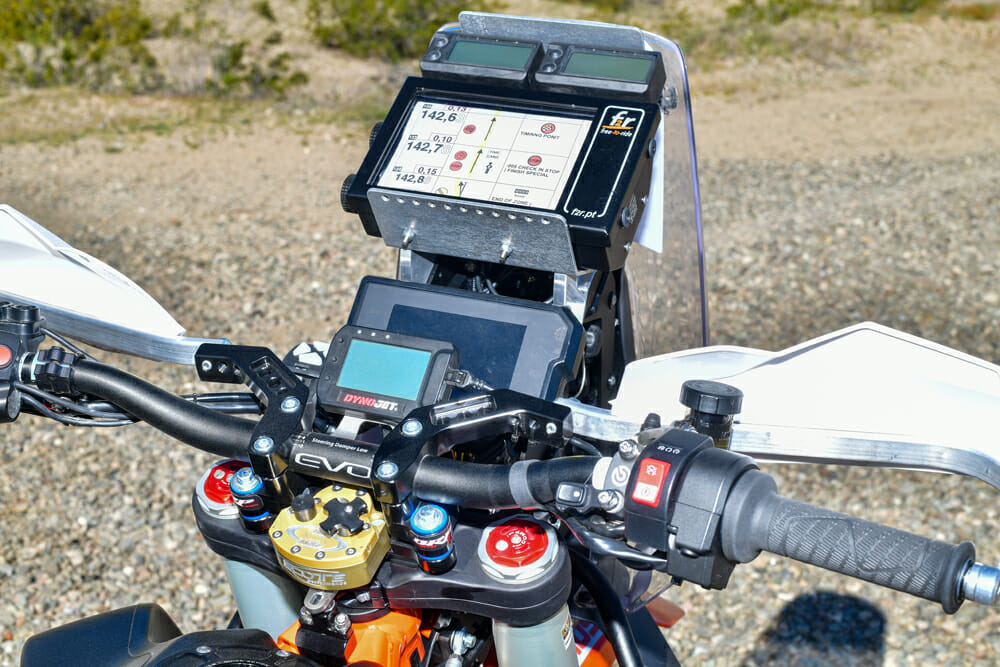 The Rebel X 790 Adventure navigation tower is flanked by Chris Parker's own Rottweiler Performance custom road-book holder.