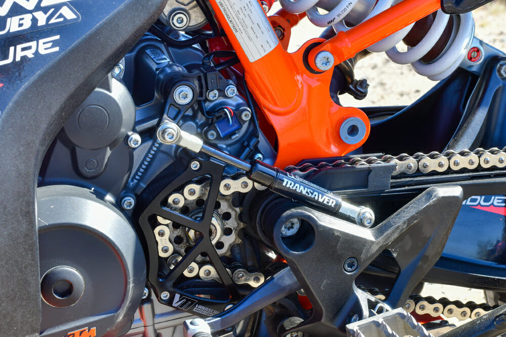 The Transaver, developed by Parker at Rottweiler, stops transmission damage when the rider bashes on the lever when the bike's in first gear.