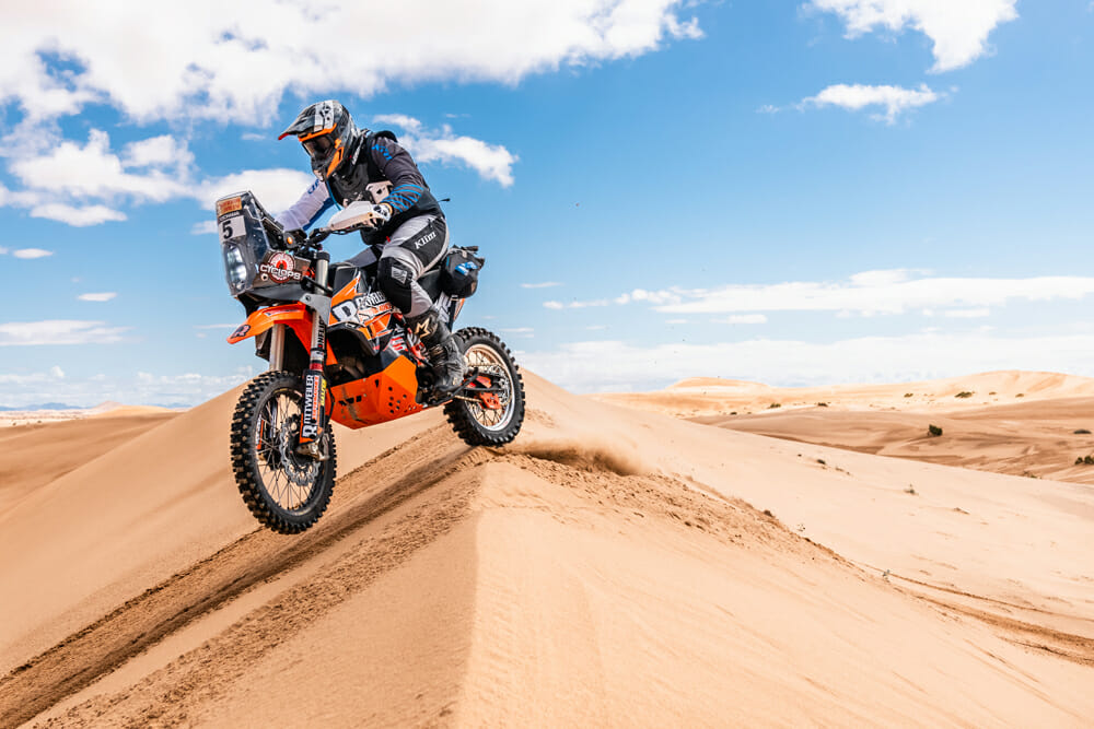 Wes Vannieuwenhuise would often wheelie up the dunes on the mighty Rottweiler Performance KTM 790 Adventure R.