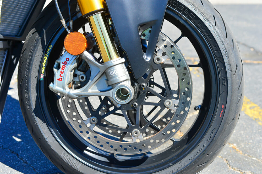 Ӧhlins Smart EC 43mm fork and Brembo Stylema caliper on the 2020 Ducati Streetfighter V4 S