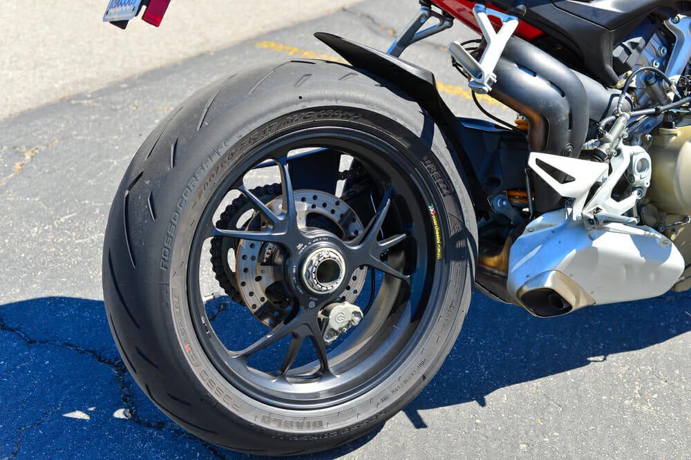 The rear wheel of the 2020 Ducati Streetfighter V4 S