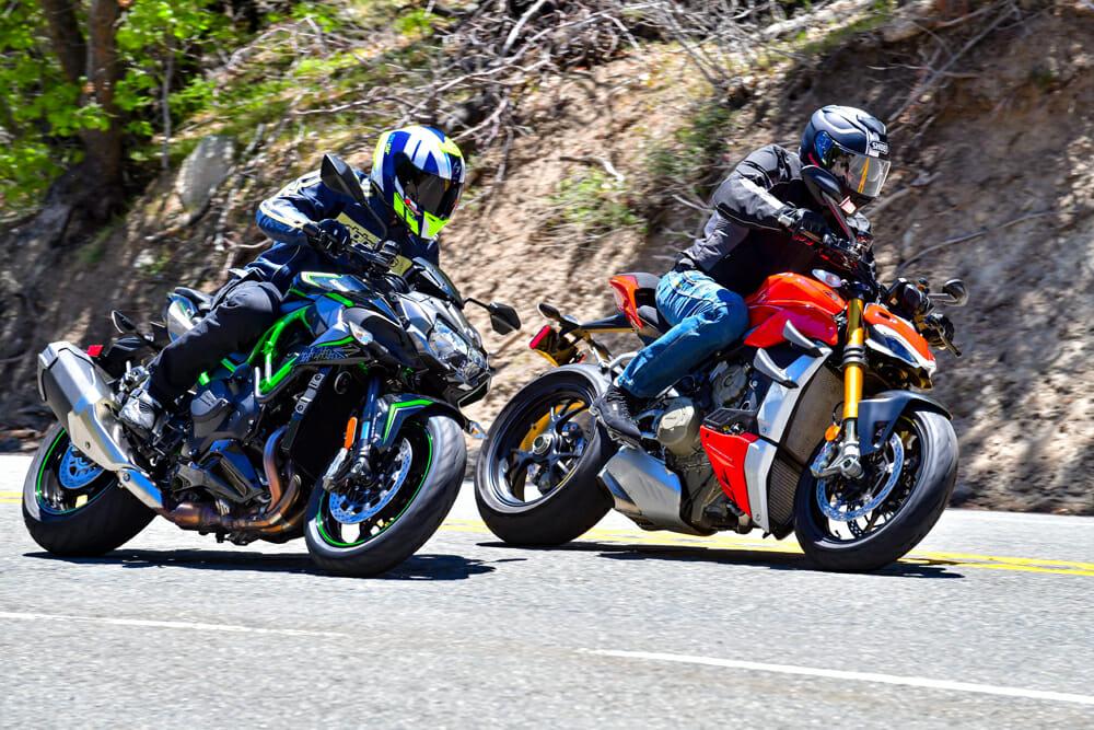 2020 Ducati Streetfighter V4 S and Kawasaki Z H2 in the twisties.
