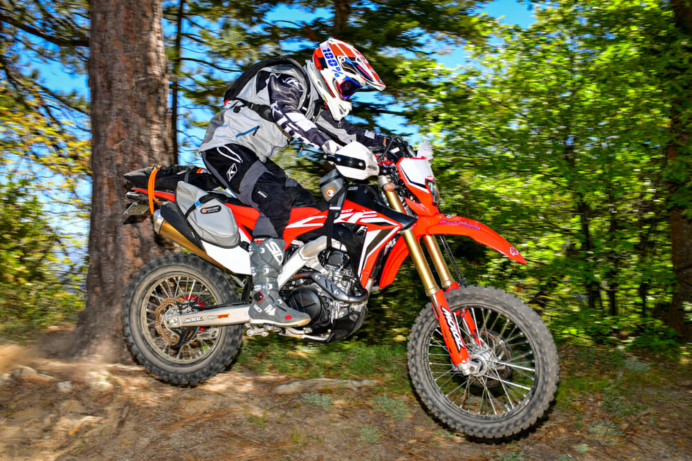The nice thing about the strap-on bags and luggage, they're easily removable for shorter outings on our 2020 Honda CRF450L project bike.
