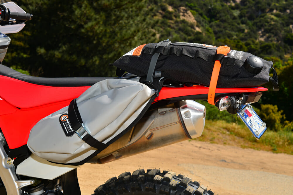 2020 Honda CRF450L project bike with Giant Loop luggage.
