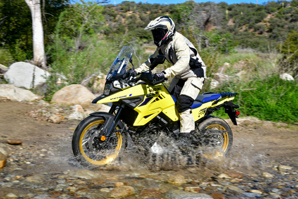 The 2020 Suzuki V-Strom 1050XT's calling is the pavement, but it doesn't mind some light-duty off-roading every now and then.