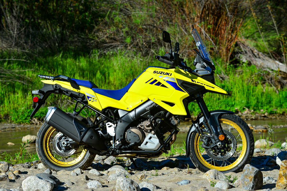 The 2020 Suzuki V-Strom 1050XT, with its throwback bright yellow coloring (as well as the bold white/orange option), was inspired by Suzuki's Ichiro Mayata, who designed Suzuki's DR-Z Paris-Dakar rally bike in the 1980s.