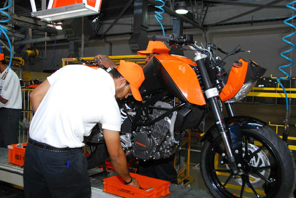 Bajaj, the plant in India which builds KTM's 390 Adventure.