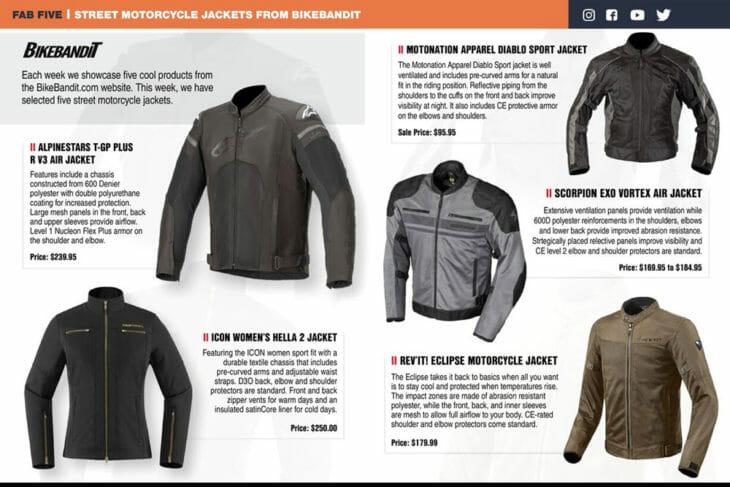 BikeBandit 2020 Top Five Street Jackets