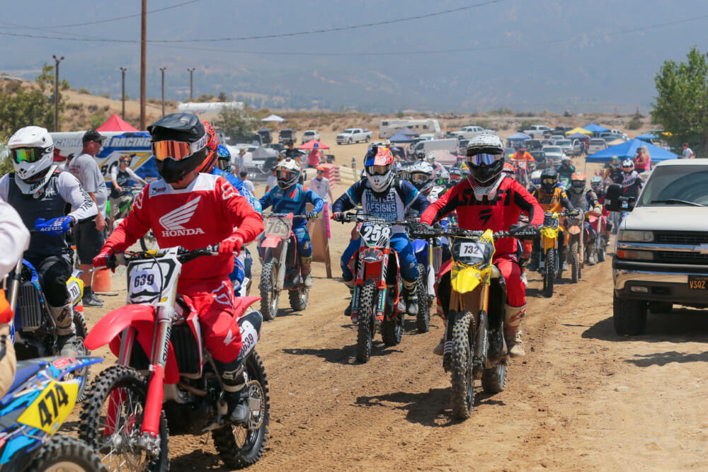 Riders file in to the start area for the SRA Grand Prix at Glen Helen.