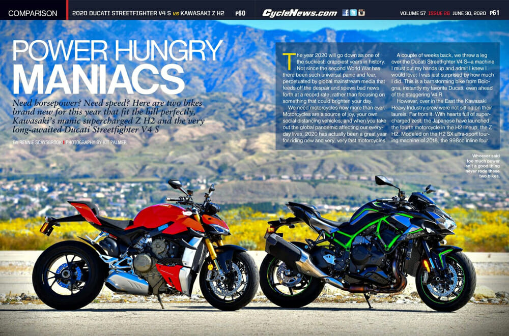 2020 Ducati Streetfighter V4 S vs Kawasaki Z H2 Comparison | Need horsepower? Need speed? There're two bikes brand new for this year that fit the bill.