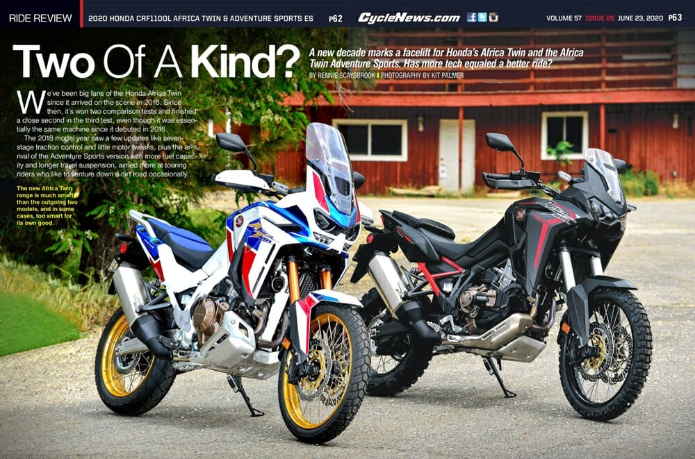Cycle News 2020 Honda CRF1100L Africa Twin Adventure Sports ES Review