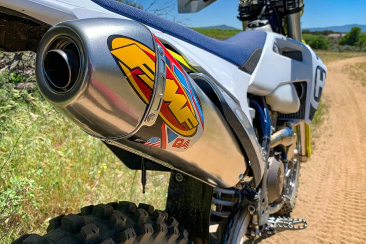Cycle News Review Husqvarna FMF Q4 Muffler and Megabomb Header